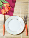 Holiday dinner. White plate and orange covers with tulips Stock Images