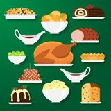Holiday dinner dishes. Set of vector Christmas food in flat style  on green background. Christmas cuisine or dishes. Perfect for New Year and Christmas greeting Royalty Free Stock Photo