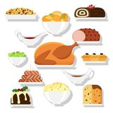 Holiday dinner dishes. Set of vector Christmas food in flat style isolated on white background. Christmas cuisine or dishes. Perfect for New Year and Christmas Royalty Free Stock Image