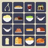 Holiday dinner icons. Set of vector Christmas food icons in flat style. Christmas cuisine or dishes. Perfect for New Year and Christmas greeting card, invitation Royalty Free Stock Photos