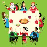 Holiday dinner with Santa Royalty Free Stock Images