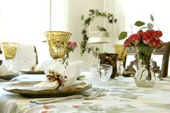 Holiday Dinner Table. Classic dinner table set for a holiday Stock Photography