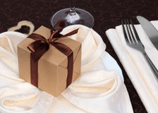 Holiday dinner table close up Stock Image