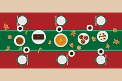 Holiday dinner table. Vector illustration of traditional Christmas desserts in flat style. Top view at table setting. Perfect for New Year and Christmas greeting Royalty Free Stock Photography