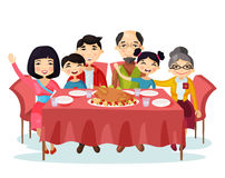 Holiday dinner with turkey of cartoon family. Kids or children with parents sitting at table during celebration or holiday eating food. Portrait of relatives Stock Images