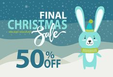 Holiday Discount Christmas on Vector Illustration. Holiday discount, final Christmas sale, 50 off, placard with image of rabbit wearing scarf and hat, standing Stock Photos