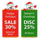 Holiday Discount And Sale Banner With Snowman Royalty Free Stock Images