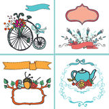Holiday Doodle floral card set,vintage Hand Royalty Free Stock Images