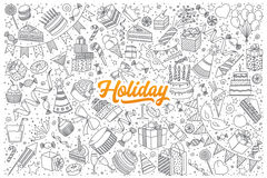 Holiday doodle set with lettering. Hand drawn set of holiday doodles with orange lettering in vector Stock Photos