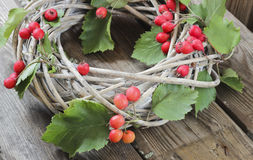 Holiday door wreath with hawthorn Stock Images