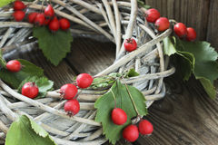 Holiday door wreath with hawthorn Royalty Free Stock Image