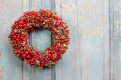 Holiday door wreath with rose hip, hawthorn and rowan berry Stock Photos