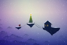 Holiday in the dreamland, Santa in the dreamland, Santa goes to the big Christmas tree and house on flying rock. Christmas on heavens, Santa scene, vector stock illustration
