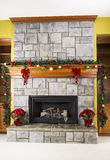 Holiday Drinks next to Fireplace Stock Photography