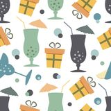 Holiday drinks and presents Royalty Free Stock Photography
