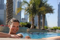 Holiday in Dubai at the pool Stock Photography