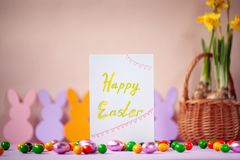 Holiday easter background with card text Happy Easter.  stock images