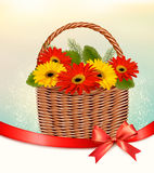 Holiday Easter background with colorful flowers in basket Stock Photos