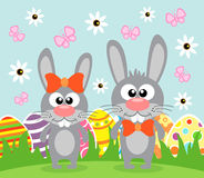 Holiday Easter background with funny rabbits Stock Photography
