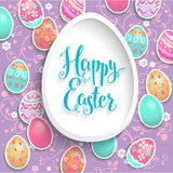 Holiday easter frame. Holiday Easter template for design banner,ticket, leaflet, card, poster and so on. Happy Easter lettering and eggs Royalty Free Stock Photo