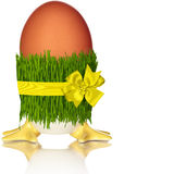 Holiday Egg In Grass Skirt Isolated On White. Brown Holiday Egg With Yellow Feet. Wrapped In Grass Skirt Isolated On White Background Stock Photography