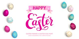Holiday eggs Easter banner. Bright Easter eggs festive banner. Easter holiday illustration for design card, invitation, banner, ticket, leaflet, poster and so on Stock Images