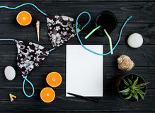 Holiday elements and a blank page. Travel photo, flat lay, top view stock photo