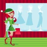 Holiday Elf Shopper stock photo