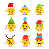 Holiday emoji icon set for christmas and new year Stock Image