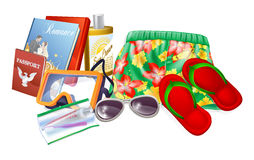 Holiday essentials. Illustrations. Important thing to pack for a summer holiday, vacation or trip. Includes sun cream, sunglasses, reading material, toiletries Royalty Free Stock Image