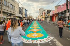 Holiday event of Corpus Christi in Campo Grande MS. Campo Grande, Brazil - May 31, 2018: Holiday event of Corpus Christi at the 14 de Julho street. People Stock Image