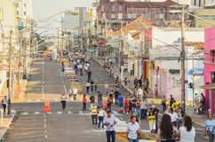 Holiday event of Corpus Christi in Campo Grande MS. Campo Grande, Brazil - May 31, 2018: Holiday event of Corpus Christi at the 14 de Julho street. People Stock Photo