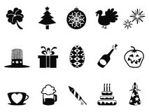 Holiday and event icons set. Isolated black holiday and event icons set from white background Stock Photo
