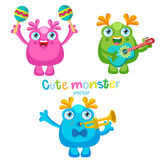 Holiday Everyday. Cute Monsters Music Players Vector Set. Luck Cartoon Mascot. Monsters With Guitar, Trumpet, Maracas. Stock Photo