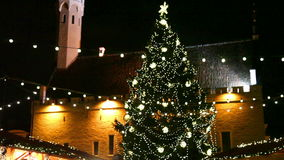 Holiday fair at the Old Town in Tallinn stock video footage