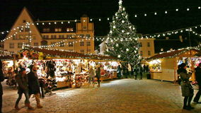 Holiday fair at the Old Town in Tallinn stock video