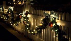 Holiday Fence Decorations stock photo