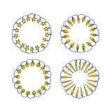 Holiday festoon frames. Vector graphic set of hand drawn holiday festoons forming round frames. Hand drawn wreath of light bulbs and stars. Beautiful design Royalty Free Stock Images