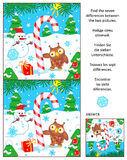 Holiday find the differences picture puzzle with candy cane. New Year or Christmas visual puzzle: Find the seven differences between the two pictures with candy Stock Images
