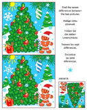 Holiday find the differences picture puzzle with christmas tree. New Year or Christmas visual puzzle: Find the seven differences between the two pictures with Royalty Free Stock Image
