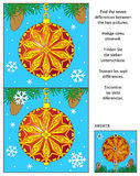 Holiday find the differences picture puzzle with decorated ornament. New Year or Christmas holiday visual puzzle: Find the seven differences between the two Stock Images