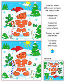 Holiday find the differences picture puzzle with ginger man. New Year or Christmas visual puzzle: Find the seven differences between the two pictures with ginger Stock Photography