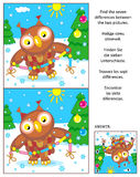 Holiday find the differences picture puzzle with owl and garland. New Year or Christmas visual puzzle: Find the seven differences between the two pictures with Royalty Free Stock Photography