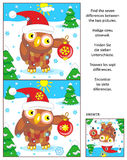 Holiday find the differences puzzle with owl and santa cap. New Year or Christmas visual puzzle: Find the seven differences between the two pictures with owl Stock Image