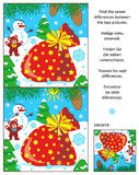Holiday find the differences puzzle with Santa`s sack. New Year or Christmas visual puzzle: Find the seven differences between the two pictures with Santa`s sack Royalty Free Stock Photos