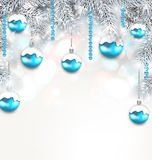 Holiday Fir Branches and Christmas Blue Ball. Illustration Holiday Fir Branches and Christmas Blue Balls, Copy Space for Your Text - Vector Stock Photos