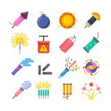 Holiday fire crackers, sparklers, fireworks and pyrotechnics flat vector icons. Explosion pyrotechnic and firecracker, sparkle colorful from pyrotechnic Royalty Free Stock Image