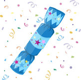 Holiday Firecracker. Isolated single blue firecracker and confetti. Merry Christmas and Happy New Year Royalty Free Stock Photo