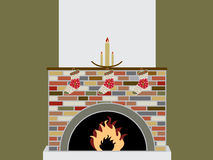 Holiday fireplace. Christmas fireplace with stockings -  illustration Royalty Free Stock Photos