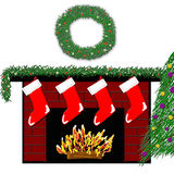 Holiday Fireplace 3 Royalty Free Stock Images